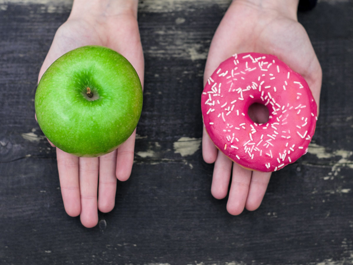 Choice - doughnut or apple